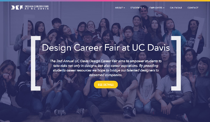 Screenshot of the 2016 UC Davis Design Career Fair site.