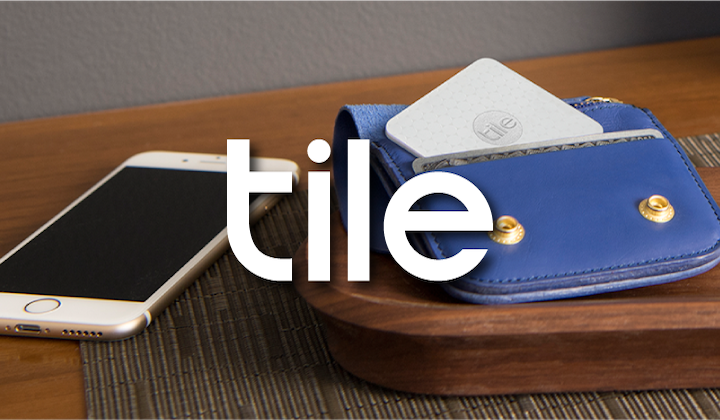 Photograph of a Tile Slim and a Wallet overlayed with the Tile logo.