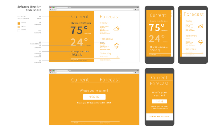 High fidelity mockups of the balanced weather app.